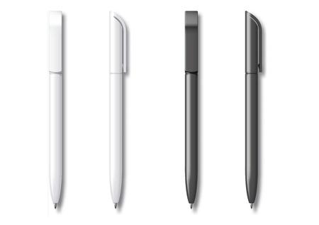 Bolígrafo realista blanco y negro. Ilustración vectorial. Plantilla para maquetas de papelería de marca e identidad corporativa.
