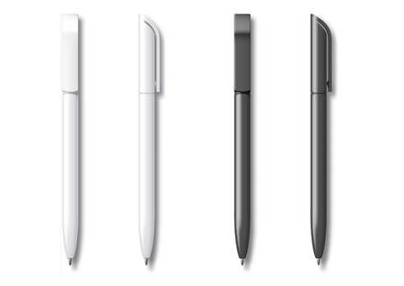 White and Black Realistic Set Pen. Vector illustration. Template For Mockup Branding Stationery and Corporate Identity. Illustration