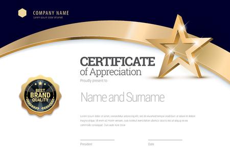 Plantilla de certificado. Diploma de diseño moderno o certificado de regalo. Ilustración vectorial