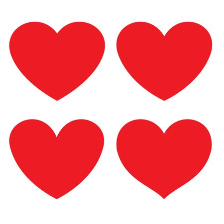 Icona piana di cuore rosso. forme diverse. Illustrazione vettoriale Vettoriali