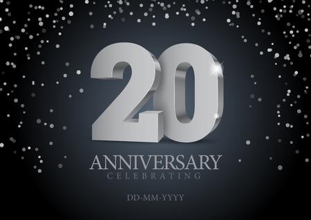 Anniversaire 20. numéros 3d d'argent. Modèle d'affiche pour la célébration de la fête du 20e anniversaire. Illustration vectorielle Vecteurs