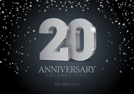 Anniversary 20. silver 3d numbers. Poster template for Celebrating 20th anniversary event party. Vector illustration