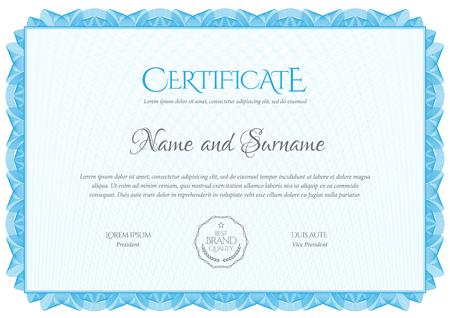 Szablon certyfikatu. Dyplom nowoczesnego wzornictwa lub bon upominkowy. Ilustracje wektorowe