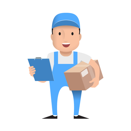 character delivery man in blue uniform with cardboard box. Vector illustration. Flat style.