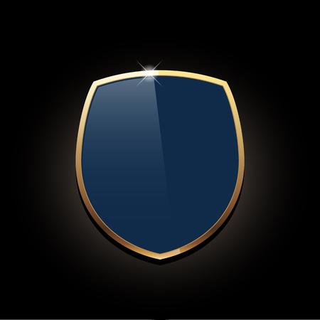 icon shield with gold edging. Vector illustration Standard-Bild - 122134530