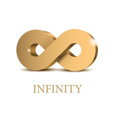 Symbole d'or 3d infini. Modèle d'affiche. Illustration vectorielle