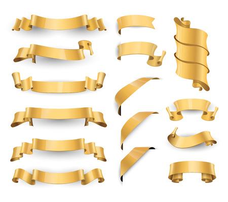 Cintas vectoriales de oro brillante realista. Gran conjunto. vector