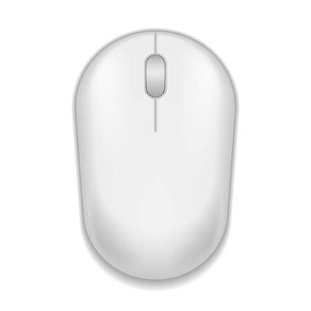 White realistic computer mouse. Matte finish soft touch. Vector illustration on white background. Vector illustration Stock fotó - 123529976