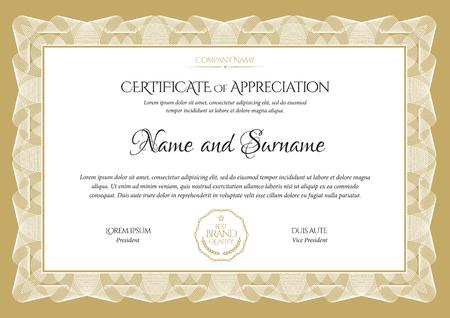 Zertifikatvorlage. Diplom für modernes Design oder Geschenkgutschein. Vektorillustration.