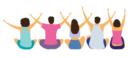 A group of seated young people with their hands up. Prayer or greeting dawn. Gesture of openness. Vector illustration