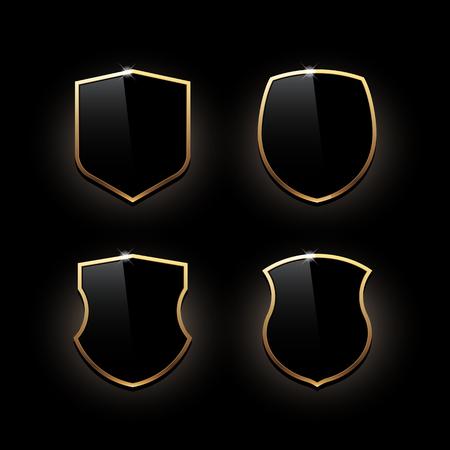 icon shield with gold edging. Vector illustration Standard-Bild - 122128233