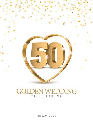 Anniversary golden wedding 50 years married. gold 3d numbers in heart. Poster template for Celebrating 50th anniversary event party. Vector illustration