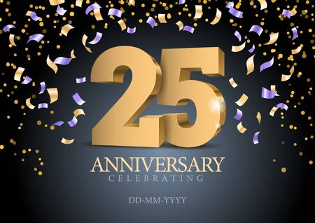 Anniversary 25. gold 3d numbers. Poster template for Celebrating 25th anniversary event party. Vector illustration Фото со стока - 127274062