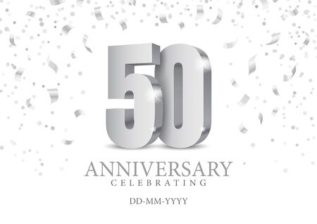 Anniversary 50. silver 3d numbers. Poster template for Celebrating 50th anniversary event party. Vector illustration