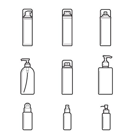 Dispensers, batchers. line drawing set of cosmetic bottles on white background. Vector illustration