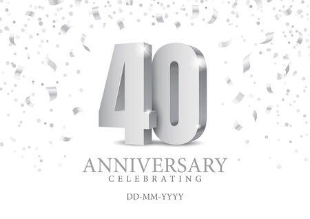 Anniversary 40. silver 3d numbers. Poster template for Celebrating 40th anniversary event party. Vector illustration