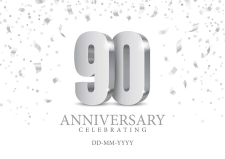 Anniversary 90. silver 3d numbers. Poster template for Celebrating 90th anniversary event party. Vector illustration  イラスト・ベクター素材