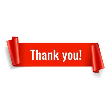 Dziękuję baner. Czerwony papier skręcony wstążka. Ilustracja wektorowa Ilustracje wektorowe