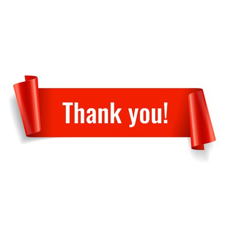 Thank you banner. Red paper twisted ribbon. Vector illustration Vektorové ilustrace