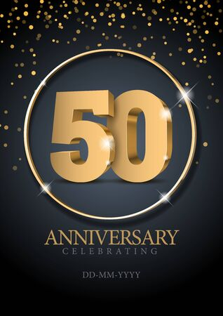 Anniversary 50. gold 3d numbers. Poster template for Celebrating 50th anniversary event party. Vector illustration  イラスト・ベクター素材