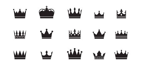 Royal crowns big collection. Quality Crown collection. Vintage crown icons. Vector illustration