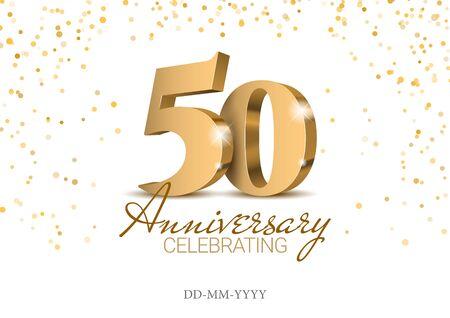 Anniversaire 50. numéros 3d d'or. Modèle d'affiche pour la célébration de la fête du 50e anniversaire. Illustration vectorielle