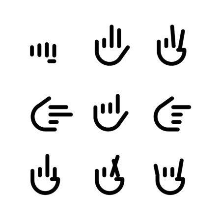 hand gestures. line icons set. Flat style vector icons, emblem, symbol For Your Design Imagens - 132083526