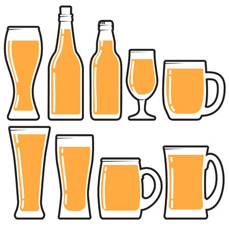 Set various craft beer bottles, mugs and glases. Different shapes and sizes. vector illustration