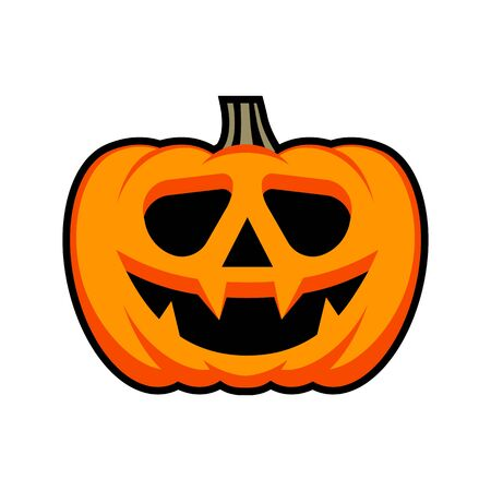 Halloween pumpkin with happy face. Flat style vector icons, emblem, symbol For Your Design