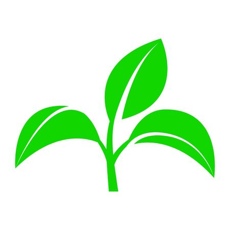 Sprout with leaves. Symbol of an environmentally friendly or rapidly degradable product that does not harm the environment. Vector illustration