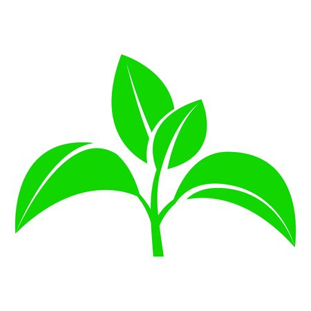 Sprout with leaves. A symbol of an environmentally friendly or rapidly decaying product that does not harm the environment. Vector illustration 스톡 콘텐츠 - 135377617