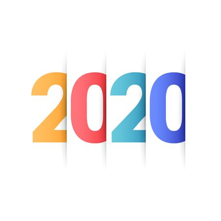 Vector text Design 2020. Happy new year template greeting card.