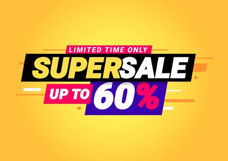 Super sale of special offers. Discount with the price is 60 . An ad with a red tag for an advertising campaign at retail on the day of purchase. vector illustration 일러스트