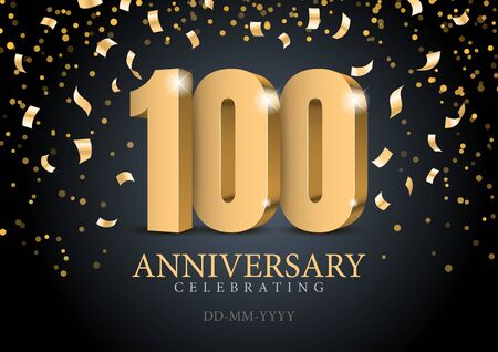 Anniversary 100. red 3d numbers.
