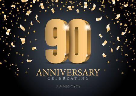 Anniversaire 90. numéros 3d d'or. Modèle d'affiche pour la célébration de la fête du 10e anniversaire. Illustration vectorielle