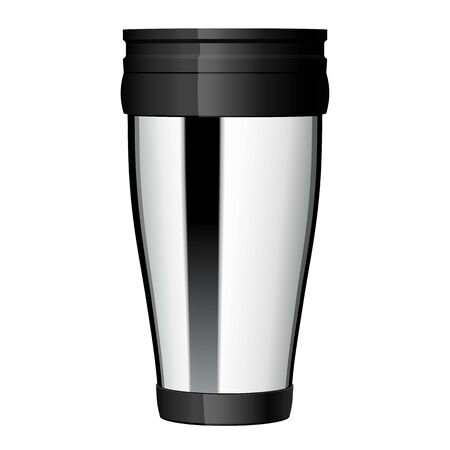 Shiny Metal travel thermo cup vector. eps 10