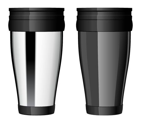 Shiny Metal travel thermo cup vector.