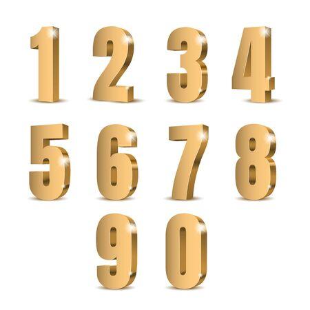 Gold 3d numbers. Symbol set. Vector illustration