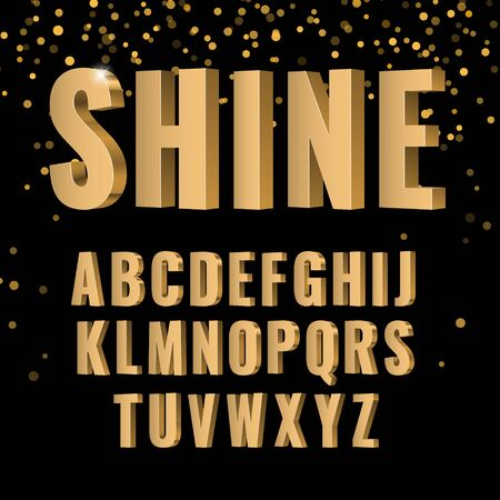 3d Gold symbols alphabet. shiny letters in style sanserif font. Vector illustration Ilustração