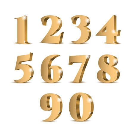 Gold 3d numbers. Symbol set. Vector illustration