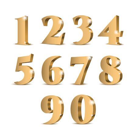 Gold-3D-Zahlen. Symbolsatz. Vektor-Illustration