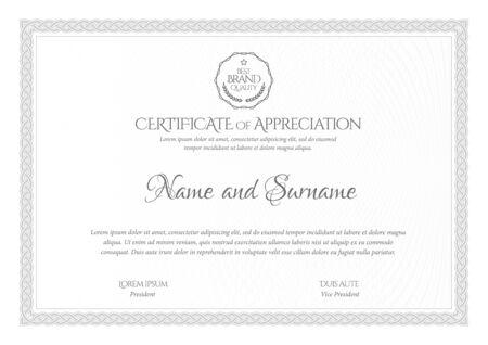 Modello di certificato d'argento. Diploma di design moderno o buono regalo. Illustrazione vettoriale. Vettoriali