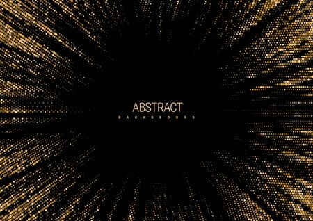 Abstract background for a festive event. A flash of gold sparkles scattering from the center on a black background. Golden radial halftone texture pattern. Vector illustration.