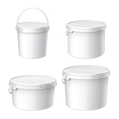 Mockup for design. White plastic buckets. A small large and medium bucket with a lid. Container for 1, 2, 5 liters. Product packaging food or paints, adhesives, sealants. Vector