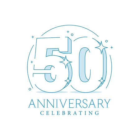 Anniversary 50. 3d number fifty with sparkles. In line art style. 50th anniversary poster template. Solemn figure for presentation. Vector illustration