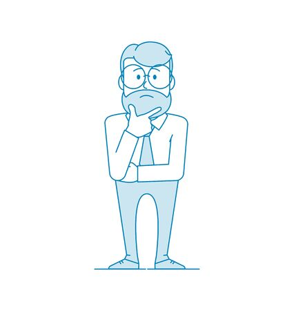 Character is a man with glasses and a beard holds his chin with his hand. A gesture of pondering or thinking. Manager or office worker in a shirt with a tie. Illustration in line art style. Vector