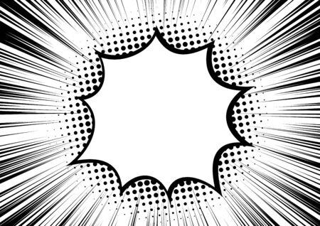 Black and white contrast. Background of rays arranged in a circle and a bright star or explosion in the center. Flash or flare illustration. For various graphic designs or comics. Vector retro style Illustration