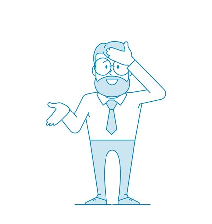 Character - a man in glasses and with a beard hits his forehead with his open hand. As I did not immediately guess, or how I could forget. Office worker in a tie. Illustration in line art. Vector