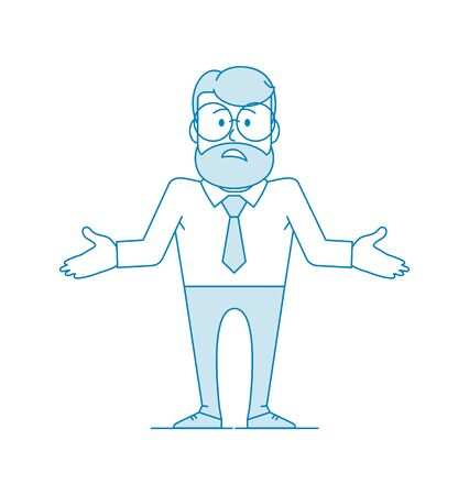 Character is a disgruntled man with glasses and a beard shrugs and spreads his hands in confusion. I can t help, or I can t do anything. Office worker in a tie. Illustration in line art style. Vector