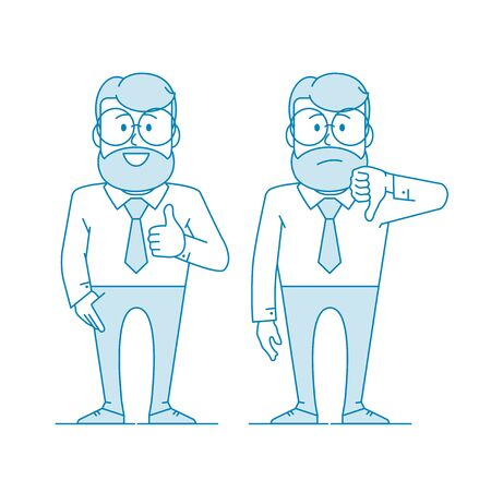 Character - a man with glasses and a beard. Like and dislike. For better or worse, approval and condemnation. Manager or office worker in a shirt with a tie. Illustration in line art style. Vector